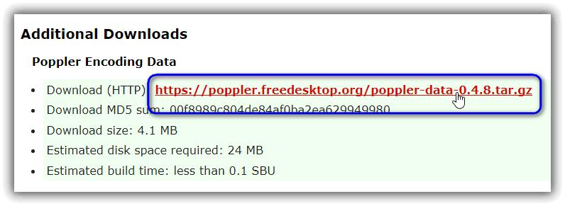 Poppler 言語ファイルのダウンロード