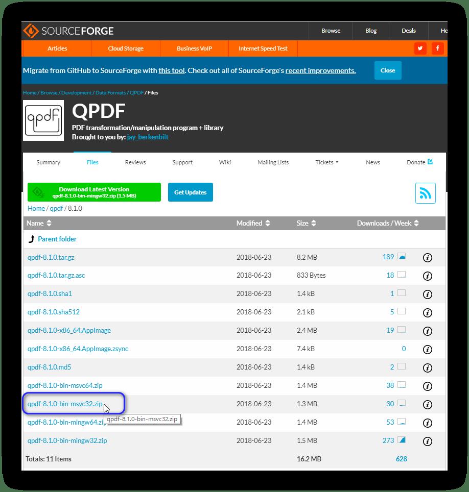 Qpdf Windows 版のダウンロード